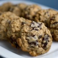 Dark Chocolate Chunk and Dried Cherry Oatmeal Cookies are sweet, tart, chewy cookies. A great flavor combination! - Bake or Break
