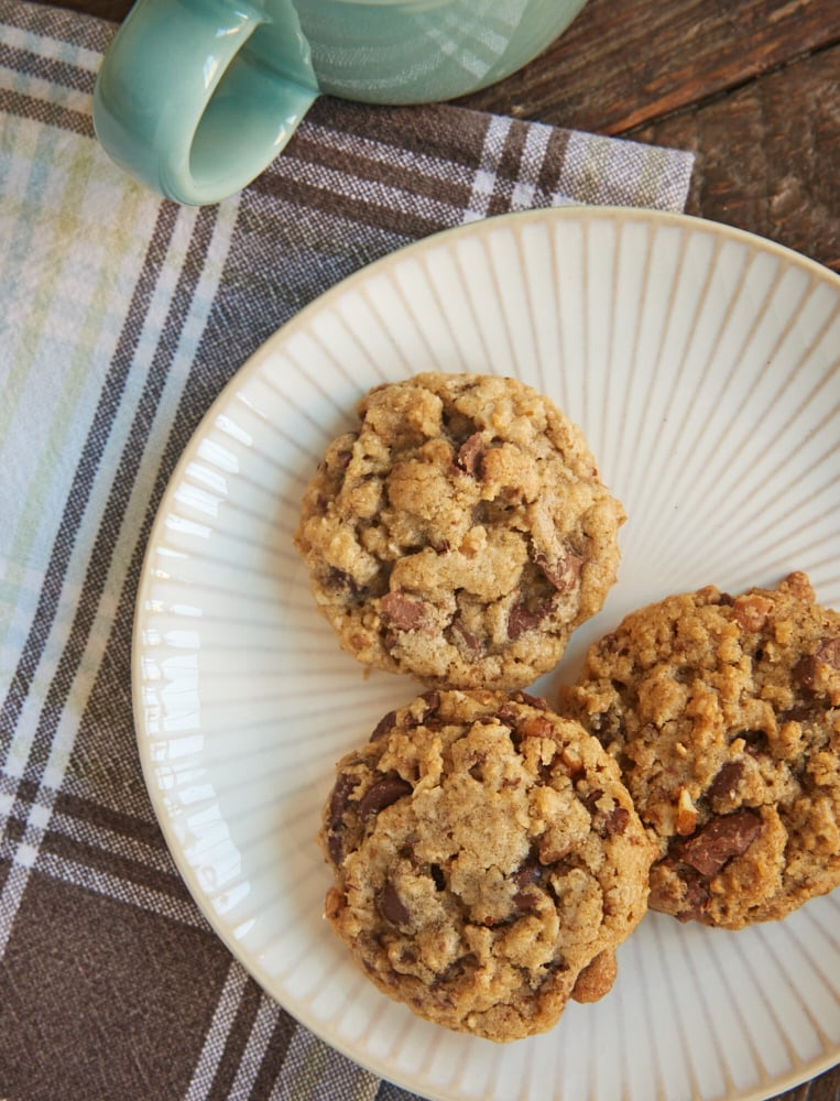 My Favorite Chocolate Chip Cookies are packed with oats, nuts, and plenty of chocolate.