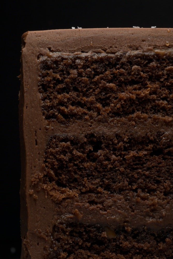 Sweet and Salty Cake is a rich, delicious chocolate cake with salted caramel, chocolate-caramel frosting, and a sprinkling of salt. Absolutely delicious!