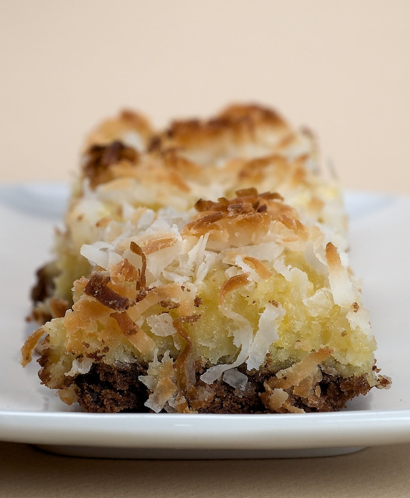 Coconut and chocolate are a perfect combination in these Black-Bottom Coconut Bars.