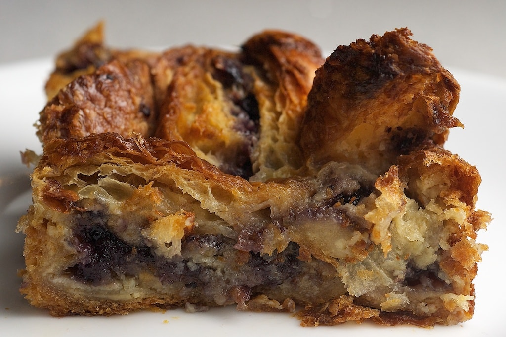 Blueberry Croissant Bread Pudding is so simple to make with bakery croissants and blueberry preserves. One of my favorite quick and easy desserts! - Bake or Break