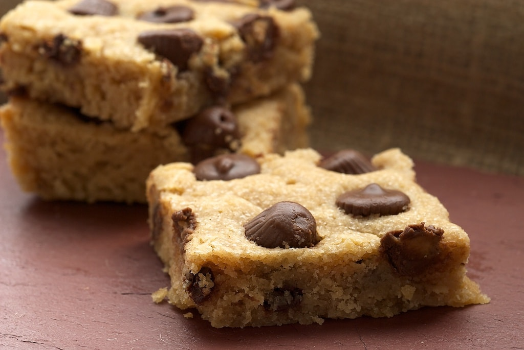 Peanut Butter Cup Blondies combine sweet, soft, chewy blondies with everyone's favorite - peanut butter cups!