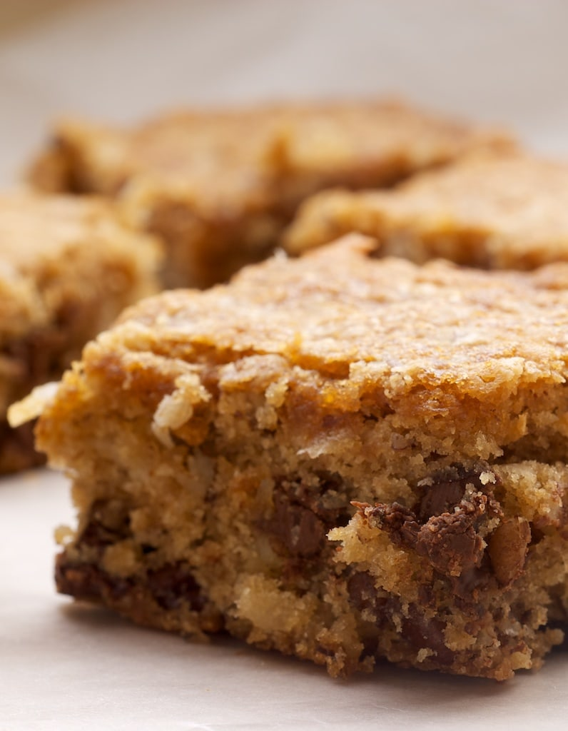 Coconut Pecan Blondies feature plenty of pecans, coconut, and brown sugar. A great quick and easy recipe that's a real crowd pleaser! - Bake or Break