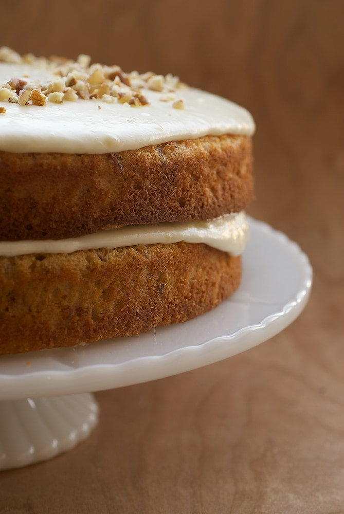 Pecan Layer Cake with Banana Icing combines a deliciously nutty cake with a sweet banana icing. Absolutely delicious! - Bake or Break