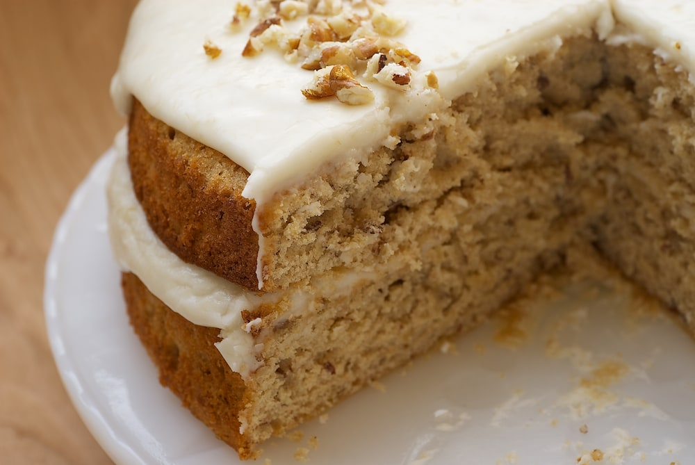 Pecan Layer Cake with Banana Icing is a wonderfully nutty cake with a simple banana icing. This one is always a hit! - Bake or Break