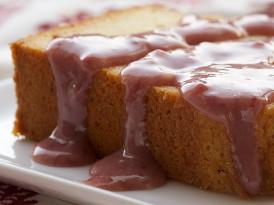 Cream Cheese Pound Cake with Strawberry-White Chocolate Sauce
