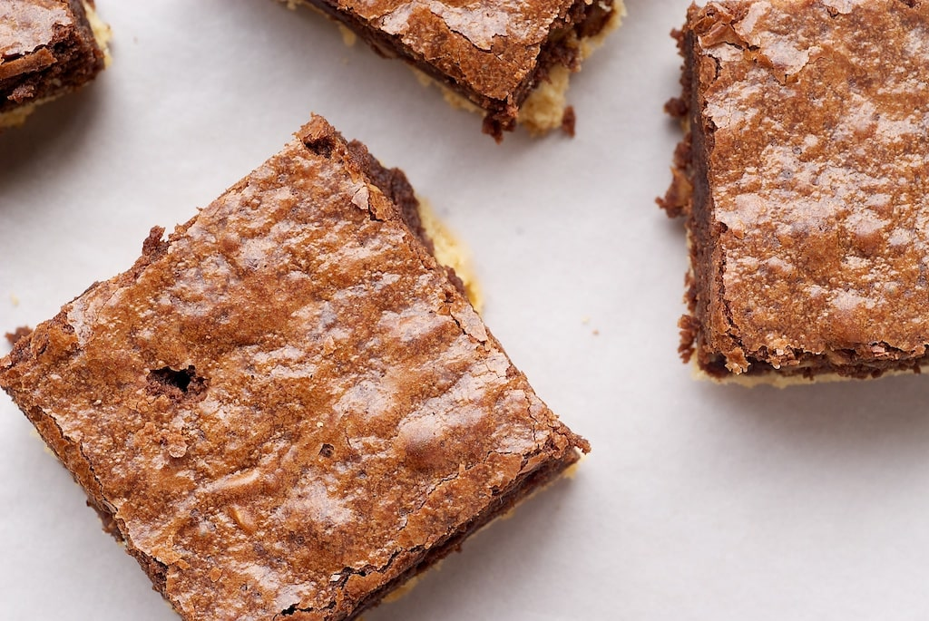 Nutella-Salted Shortbread Brownies are deliciously sweet and salty. The salty shortbread is the perfect complement to rich brownies! - Bake or Break
