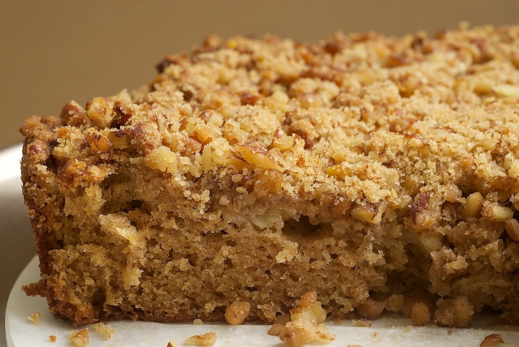 Sour Cream Pear Cake with Pecan Streusel is a lovely, light, simple cake with fresh pears, nuts, cinnamon. - Bake or Break