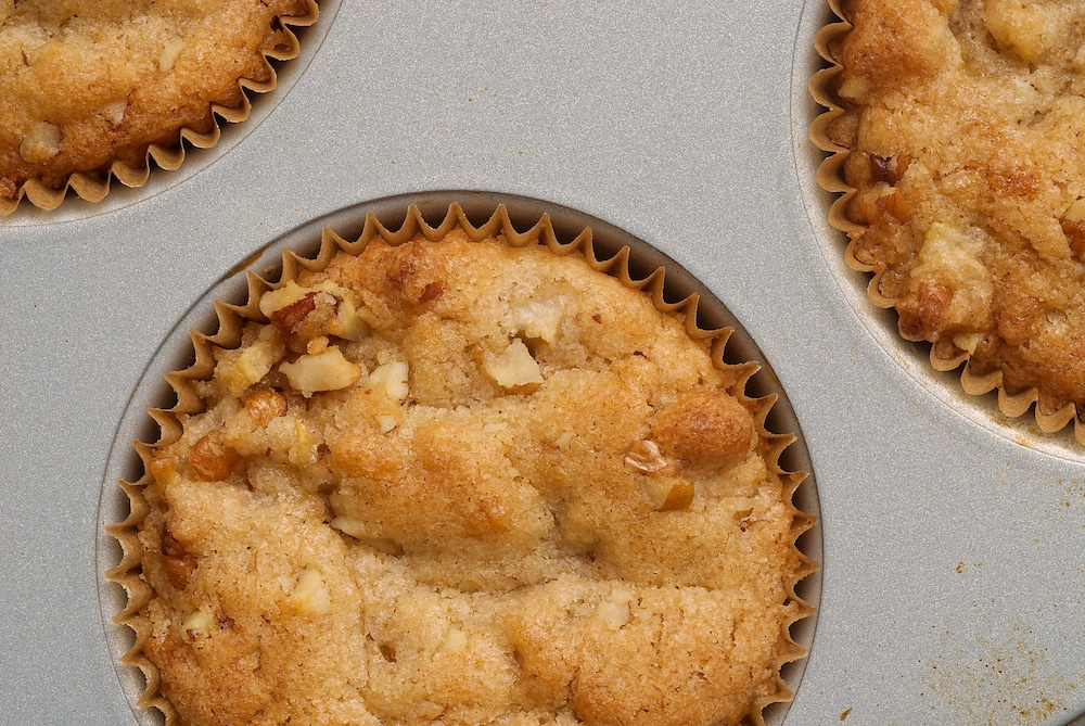 Pear and Pecan Muffins celebrate fall mornings with fresh bears, crunchy pecans, and cinnamon.