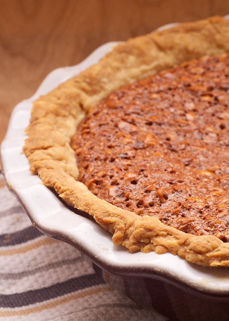 Chocolate Hazelnut Pie is a delicious twist on traditional pecan pie. - Bake or Break