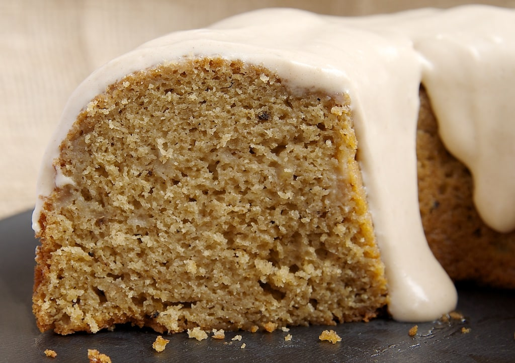 Spiced Pear Cake combines fresh pears with a combination of spices and a cream cheese glaze. Delicious!