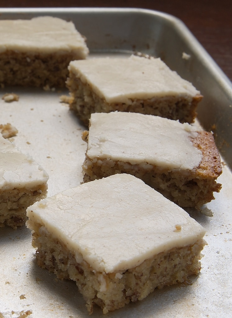Banana Bars with Browned Butter Icing combine sweet, banana bread-like bars with a sweet, nutty tasting icing made with browned butter. - Bake or Break