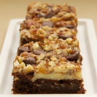Cream Cheese Brownies with Toffee and Pecans are bursting with fabulous flavors! - Bake or Break