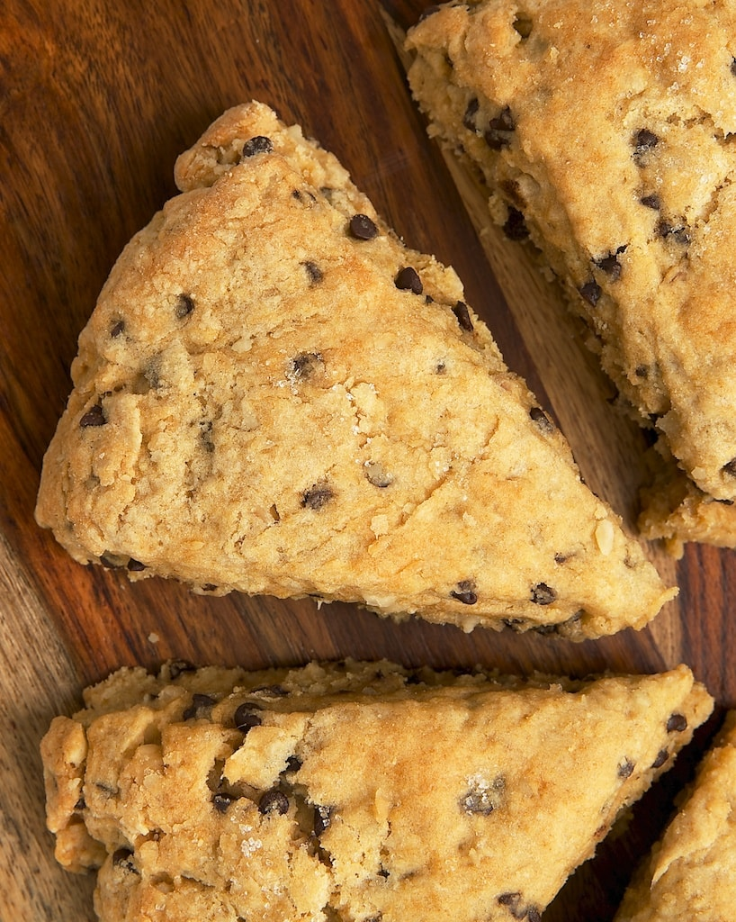 Chocolate Chip-Hazelnut Scones are wonderfully soft and moist with plenty of flavor. A fantastic treat for breakfast, brunch, or a coffee break!