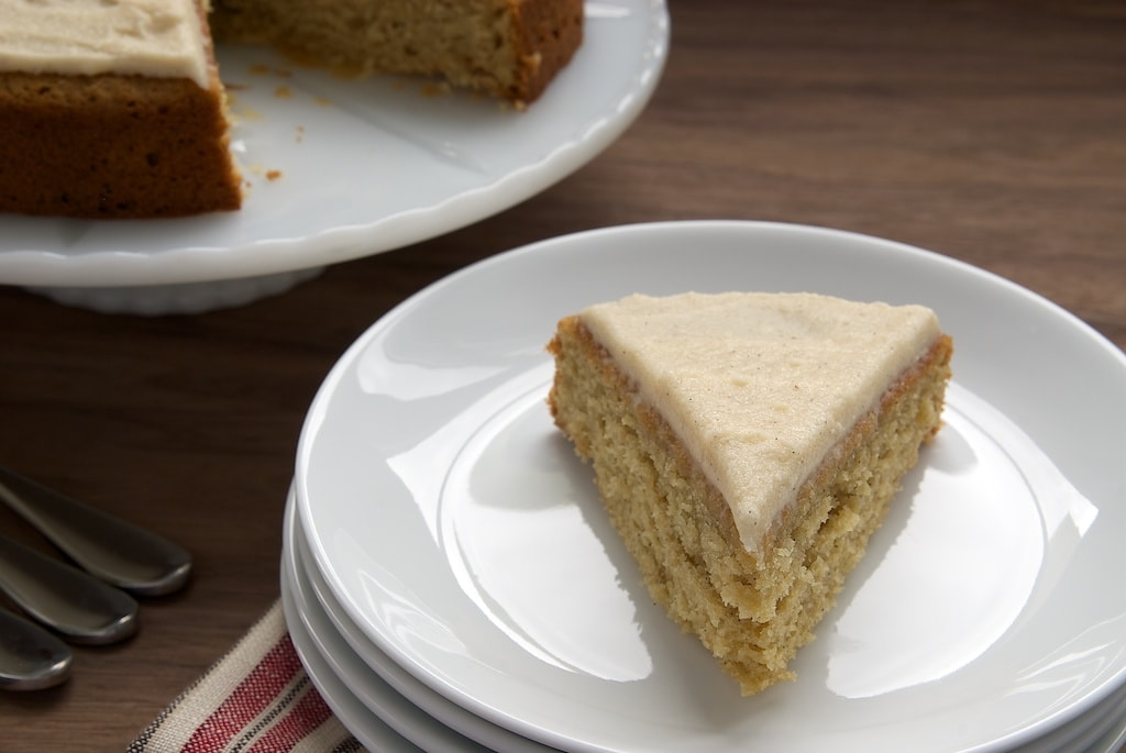 Vanilla Bean Cake with Browned Butter Icing is a simple cake with wonderful flavors.