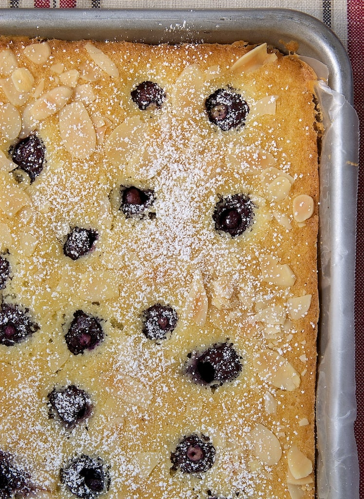 Cherries and almonds are a delicious combination in this Cherry Almond Sheet Cake. - Bake or Break