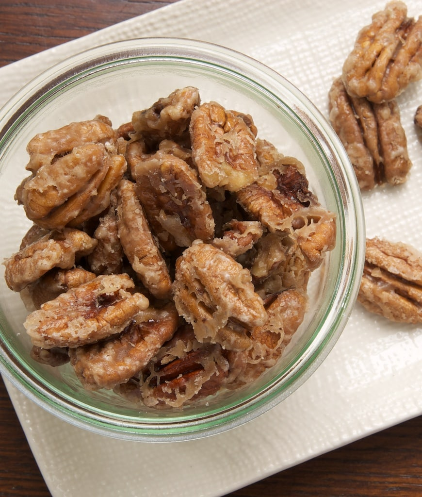 Sweet, crunchy Glazed Pecans make a great snack, homemade gift, or a dessert topping. - Bake or Break