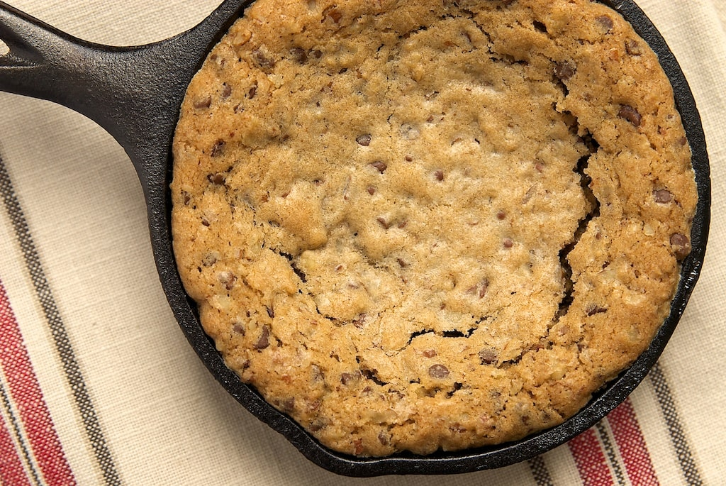 Mini Skillet Chocolate Chip Cookies are the perfect size to share with a friend. Just add ice cream! - Bake or Break
