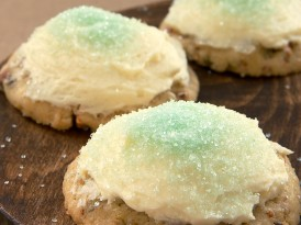 Pistachio Cookies with White Chocolate-Cream Cheese Frosting