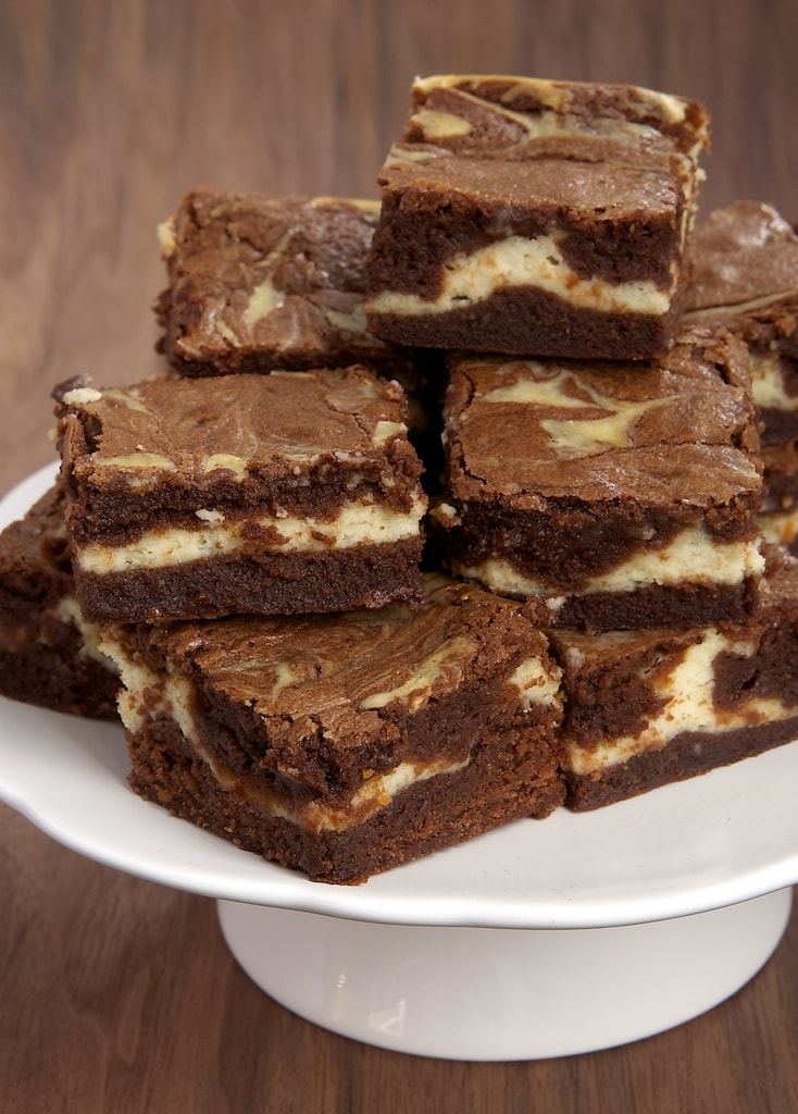 Cream cheese and bourbon add big flavor to these Bourbon Cream Cheese Brownies. These always disappear so quickly! - Bake or Break