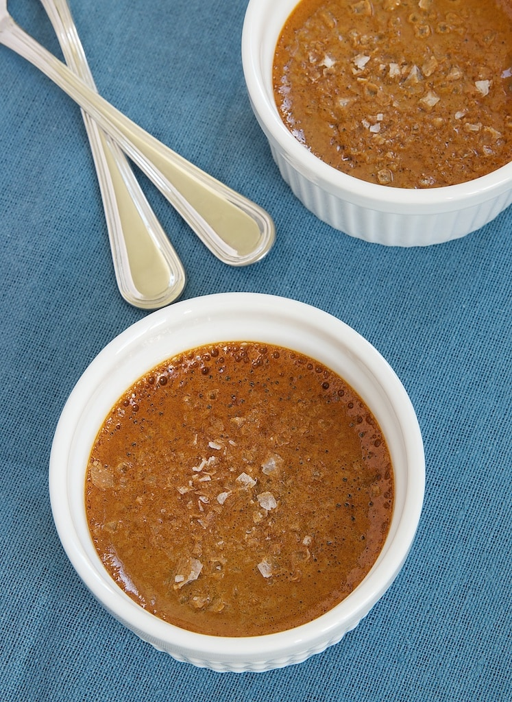 Salted Caramel Pots de Creme are delicious, rich, and elegant. A must for fans of sweet and salty desserts!