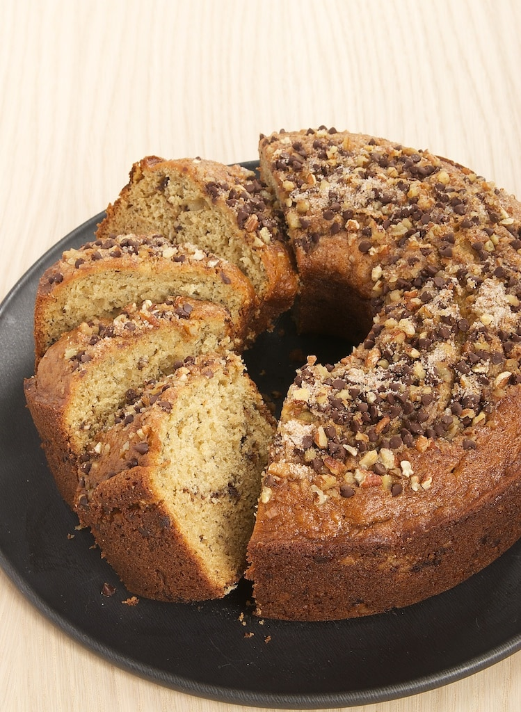 Sour Cream Banana Coffee Cake is a fantastic combination of bananas, chocolate, nuts and cinnamon. Great for everything from brunch to dessert!