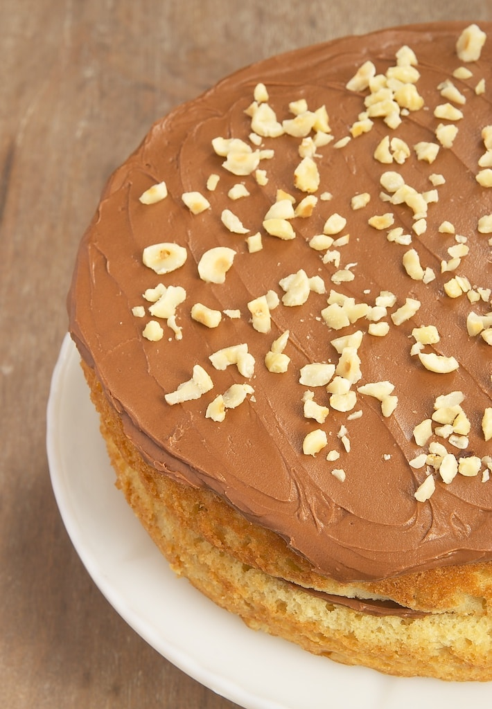 Hazelnut Cake with Mocha Frosting is sure to please fans of chocolate and coffee.