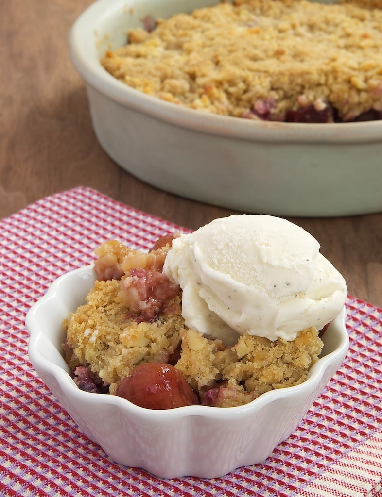 Cherries, almonds, and oats come together in one delicious place with Cherry-Almond Crumble.