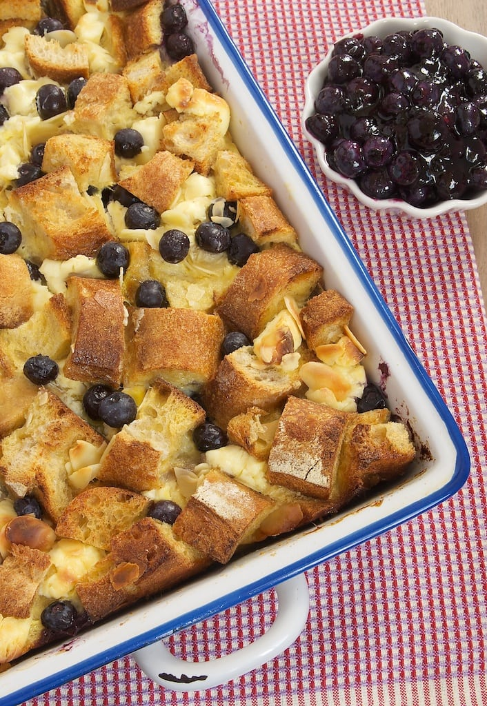 Blueberry Bread Pudding is full of fresh blueberries and cream cheese. A great choice for a morning meal or dessert!