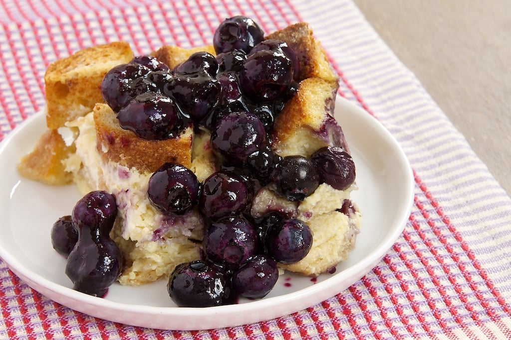 Blueberries and cream cheese make for a delicious bread pudding that works as well for breakfast as it does for dessert.