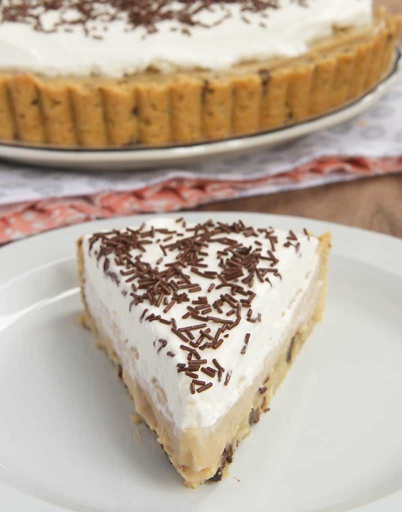 Homemade butterscotch pudding, a chocolate chip cookie crust, and whipped cream make for an irresistible dessert!