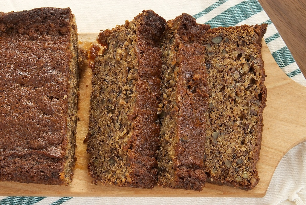 Chai caramel sauce is swirled into banana bread for a great quick bread that's full of flavor.