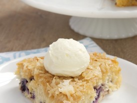 Blueberry Cake with Toasted Coconut Topping
