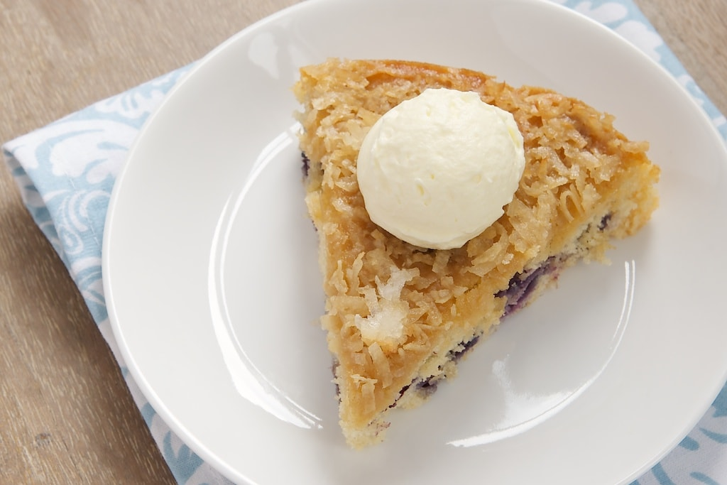 Blueberry Cake with Toasted Coconut Topping combines fresh berries, a simple cake, and a sweet coconut topping.