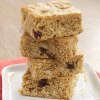 Tart dried cherries and crunchy almonds make these Cherry Almond Blondies a terrific sweet snack!