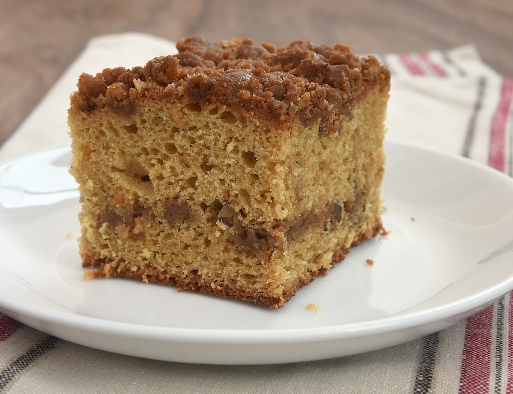 Rich caramel crumb is swirled into and crumbled on top of this Caramel Crumb Coffee Cake. A delicious twist on classic coffee cake!
