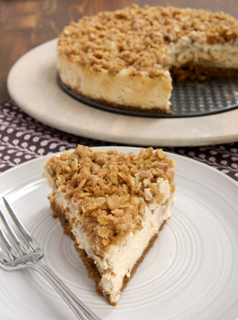 Pear Crisp Cheesecake combines sweet, rich cheesecake with a pear and oat crisp topping.