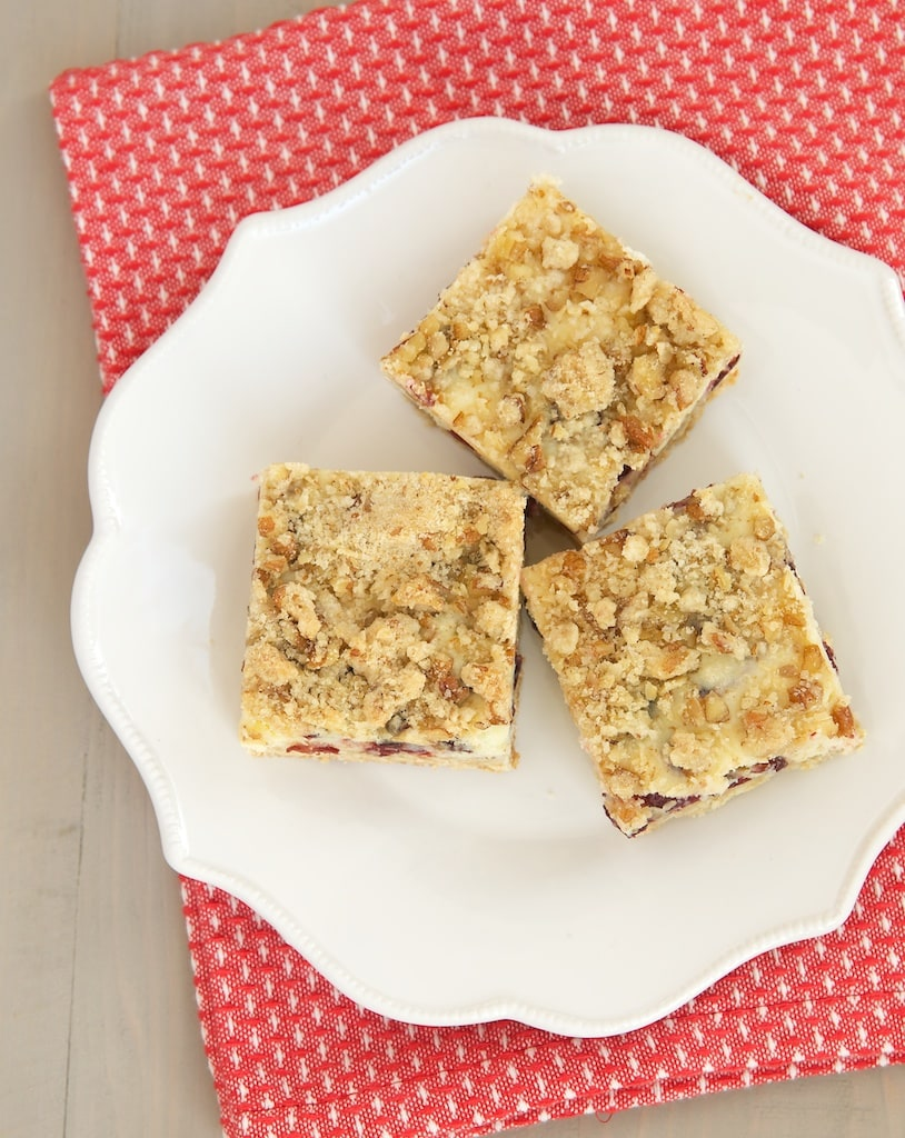 Cranberries, rich cheesecake, and a buttery, nutty crumb topping combine for a delicious treat! - Bake or Break