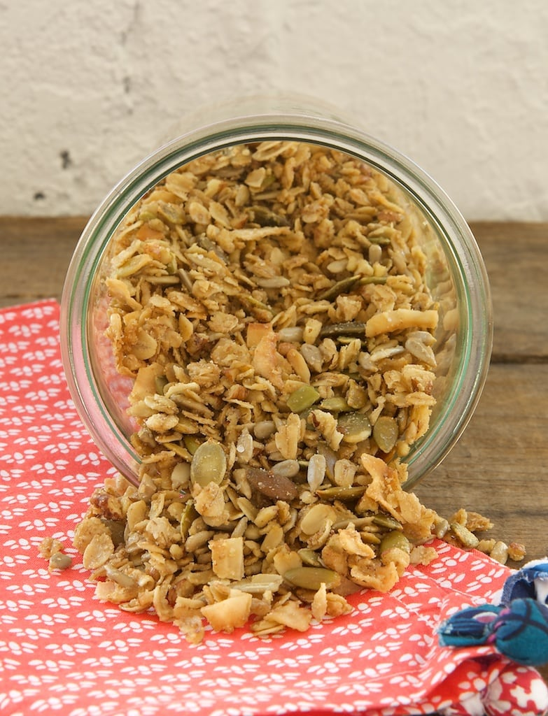 My favorite granola is made with lots of oats, seeds, coconut, nuts, and maple syrup.