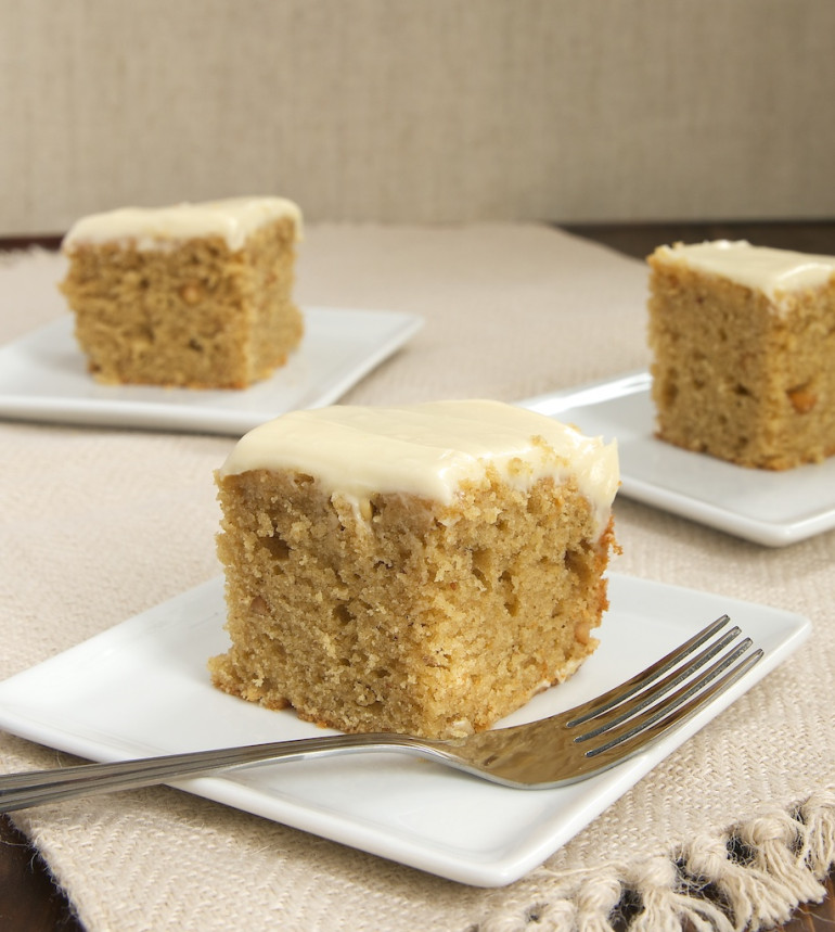 Peanut Butter Cake with Maple Cream Cheese Frosting - Bake or Break