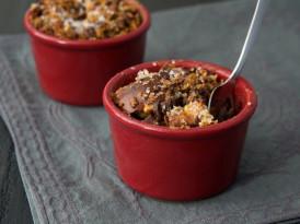 Dark Chocolate Bourbon Bread Puddings