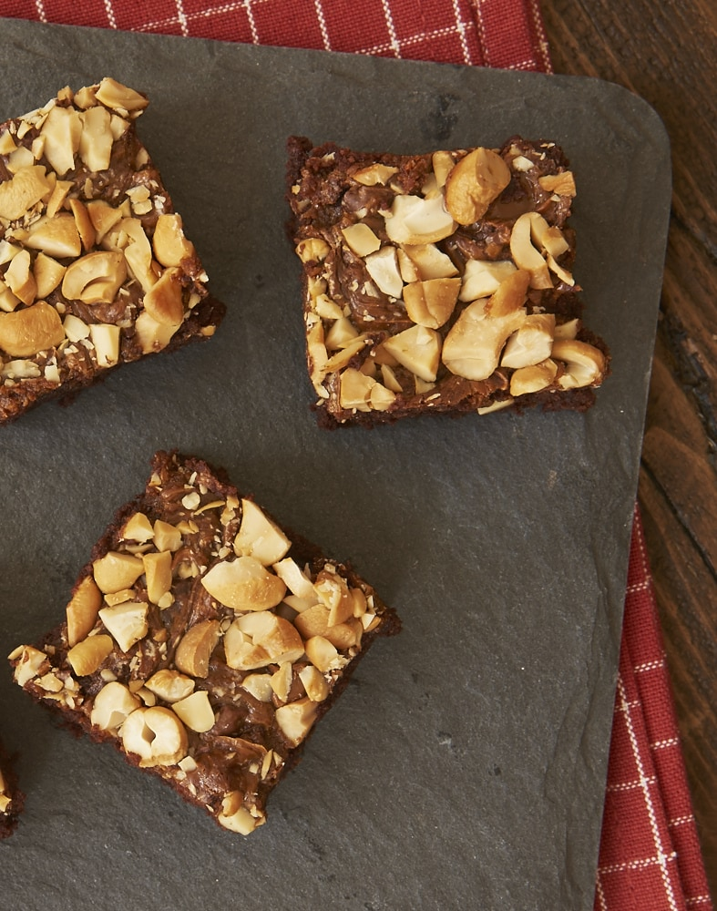 These Dulce de Leche Cashew Brownies are so deliciously rich and nutty!