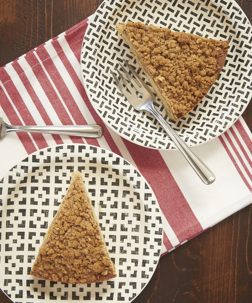 This simple Toffee Pecan Brown Butter Crumb Cake is full of amazing flavor. Great for a sweet snack or dessert! - Bake or Break