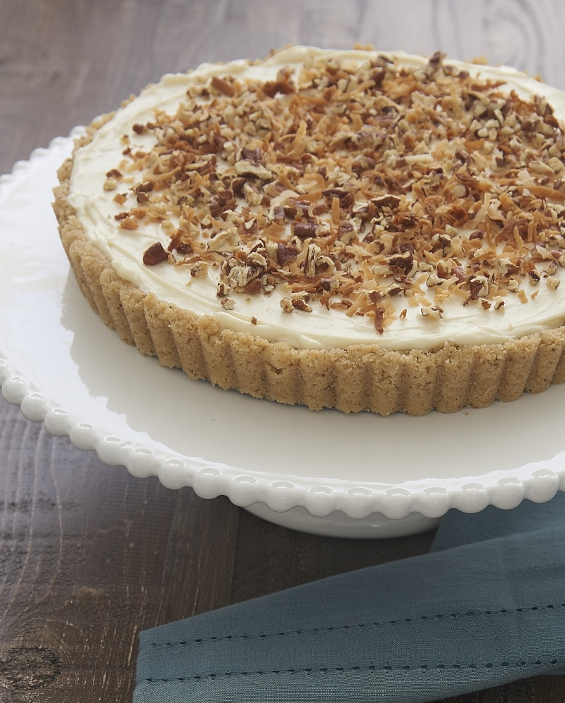 Coconut, pecans, and cream cheese are an irresistible tasty trio in this almost-no-bake Italian Cream Tart! - Bake or Break
