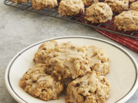 Brown Butter Oatmeal Date Cookies with Maple Glaze