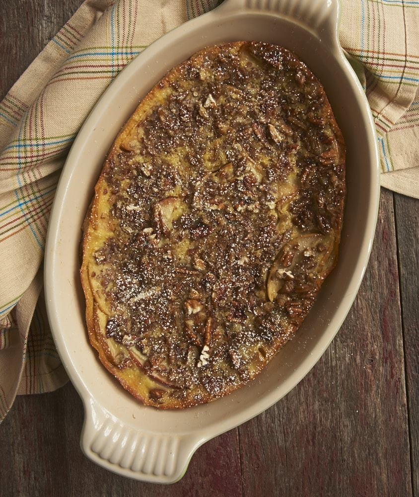 Apple Bourbon Clafoutis is a simple, not-too-sweet dessert that can be made quickly and easily. And it's beautiful, too! - Bake or Break