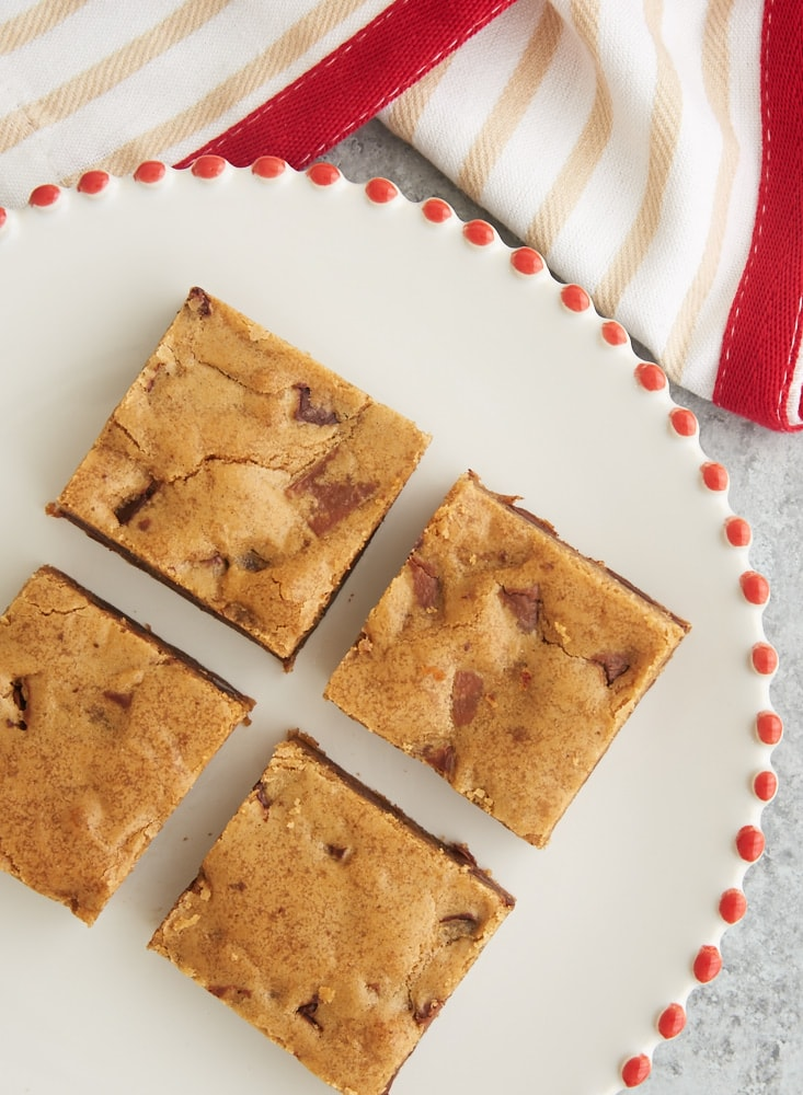 Double Chocolate Chunk Blondies are packed with plenty of brown sugar and two kinds of chocolate. A fantastic quick-and-easy dessert! - Bake or Break