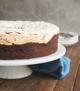 Chocolate Meringue Cake is rich, nutty, and wonderfully delicious. A dessert that's sure to impress! - Bake or Break