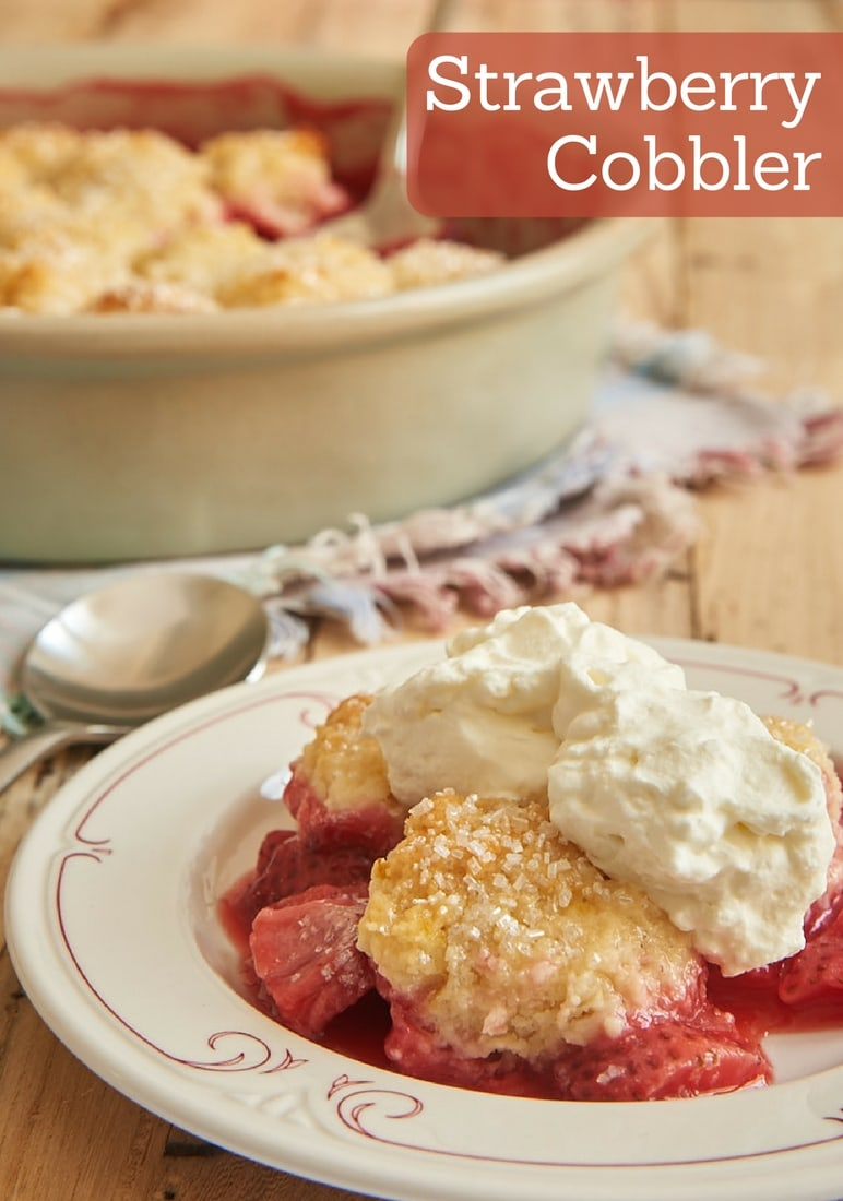This Strawberry Cobbler is full of sweet berries along with a good dose of lemon. And it's all topped with sweet cream cheese biscuits! - Bake or Break