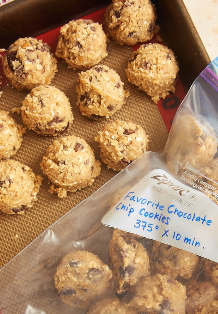 baking and cookie dough We recommend storing your cookie dough in a small airtight container in your  fridge or freezer, depending on when you want to bake it.
